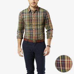 Dockers-Laundered Poplin Shirt, Slim Fit-Deep Moss Plaid