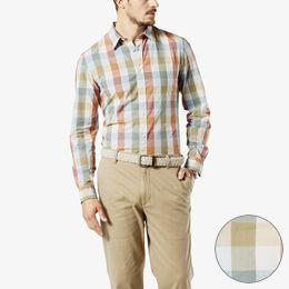 Dockers-Laundered Poplin Shirt, Slim Fit-Silver Birch Plaid