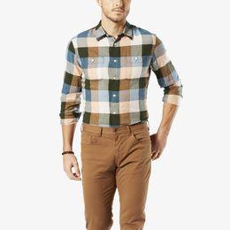 Dockers-Wrinkle Twill Shirt, Slim Fit-Green