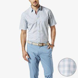 Dockers-Laundered Poplin Short Sleeve Shirt, Standard Fit-Bruno Oasis Blue Check