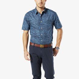 Dockers-Laundered Poplin Short Sleeve Shirt, Standard Fit-Pembroke Laguna Print