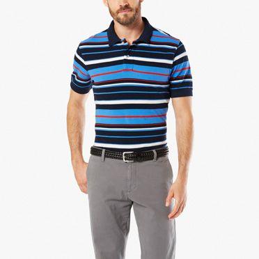 Dockers-Pique Polo, Standard Fit-Ceramic Blue Stripe