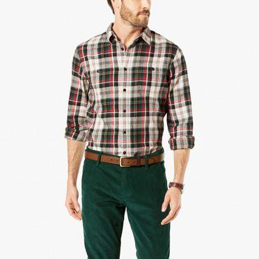 Men 39 s shirts shop men 39 s long sleeve work shirts dockers for Mens 4xlt flannel shirts