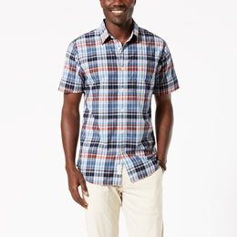 Dockers-Laundered Poplin Short Sleeve Shirt, Standard Fit-Pembroke Plaid