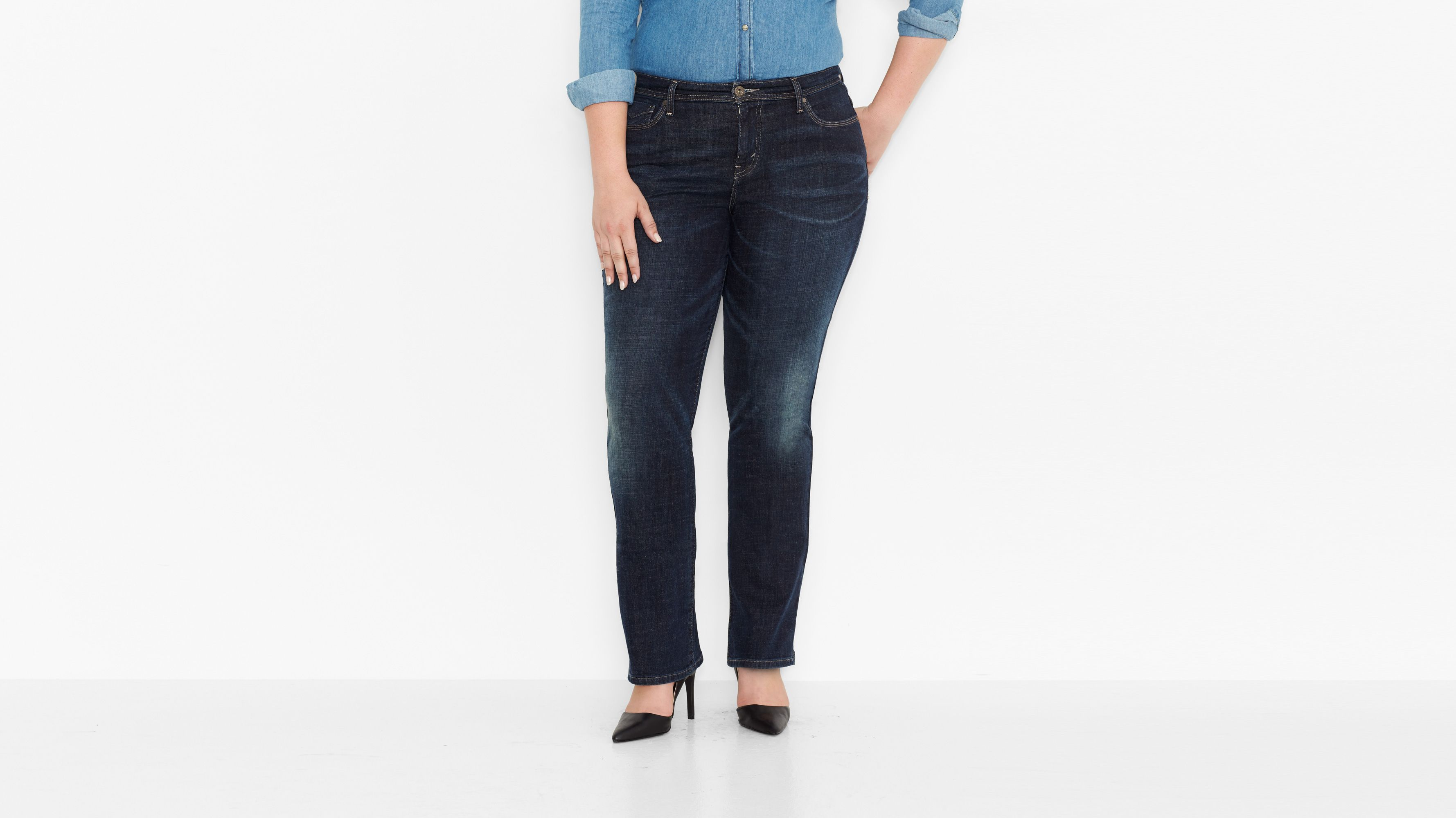 Plus 580 Defined Waist Straight Jeans - Glacier Pacific Sky