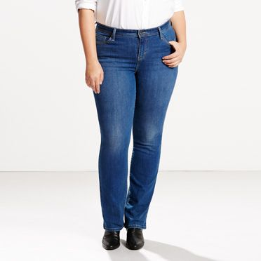 580 Defined Waist Straight Jeans (Plus)