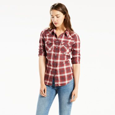 """Levis-Tailored Western Shirt-Fudge Plaid"""