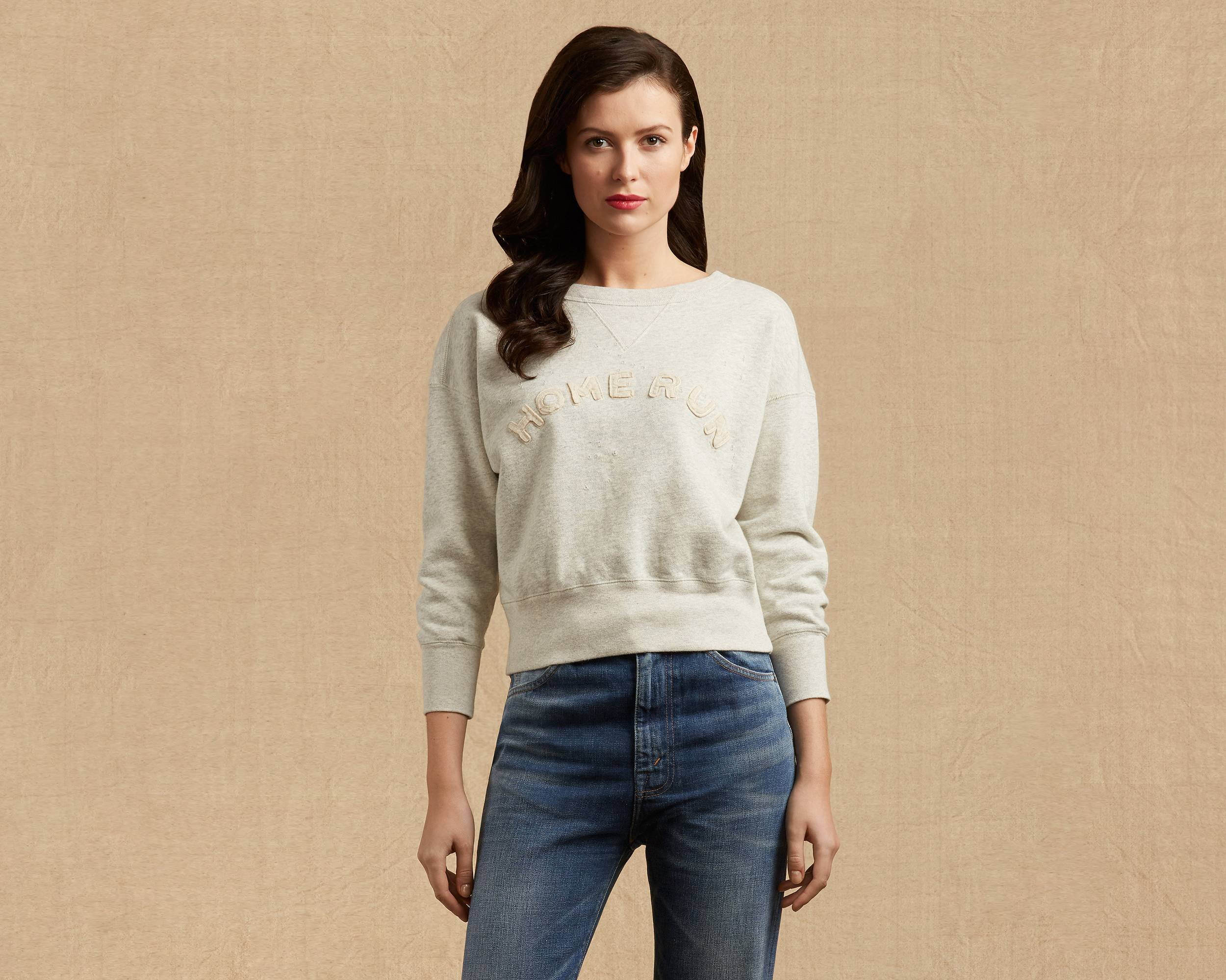 1940s Style Sweaters and Knit Tops 1940s Crew Sweatshirt $131.00 AT vintagedancer.com