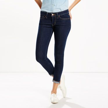 Levis Womens 711 Selvedge Skinny Jeans in Infinite Dark