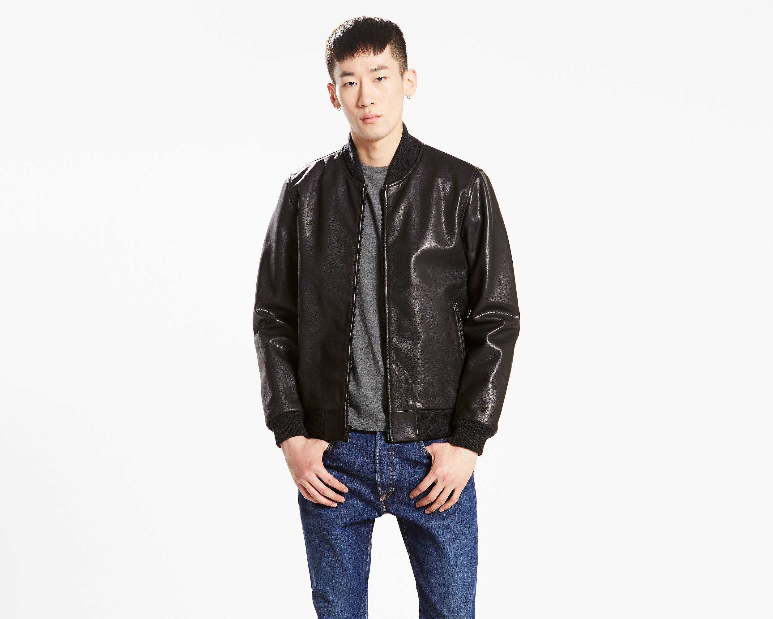 Leather Bomber Jacket | Black |Levi's® Great Britain (UK)