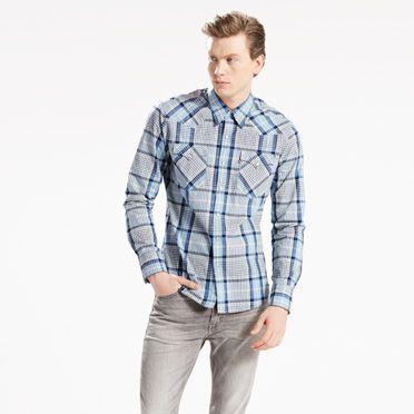 """Levis-Barstow Western Shirt-Dusk Blue Plaid"""