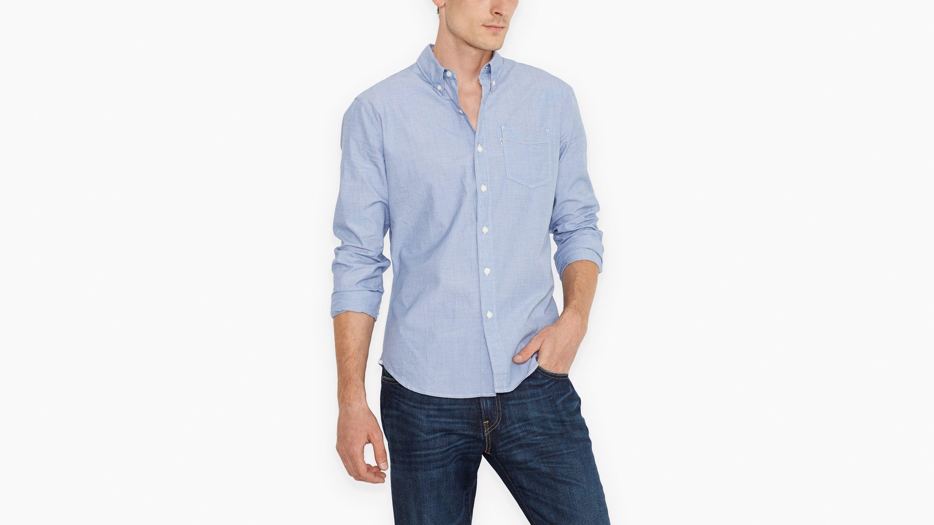 Sunset One Pocket Shirt - End on End True Blue