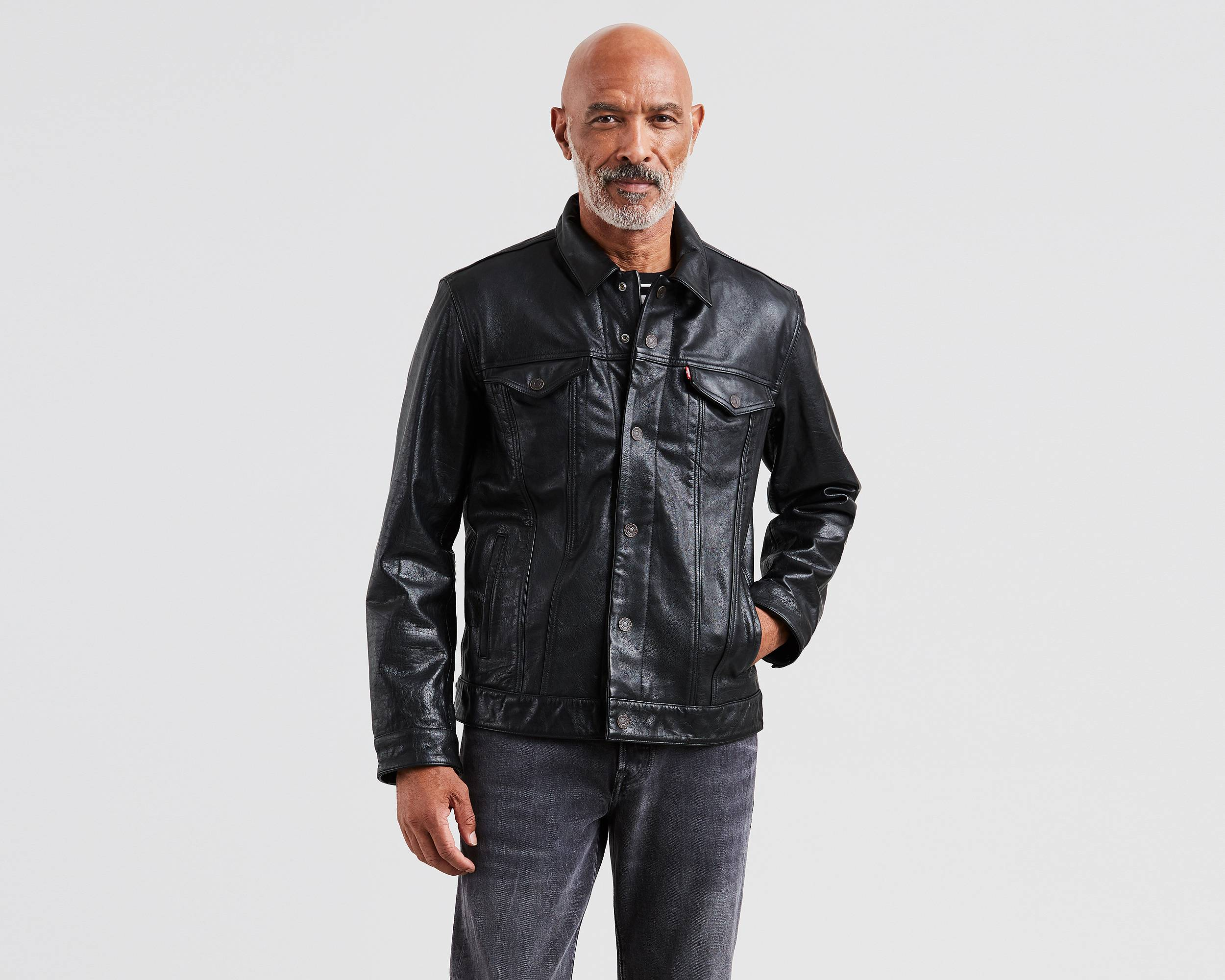 The Trucker Jacket Black Buffalo Leather Levi S 174 United