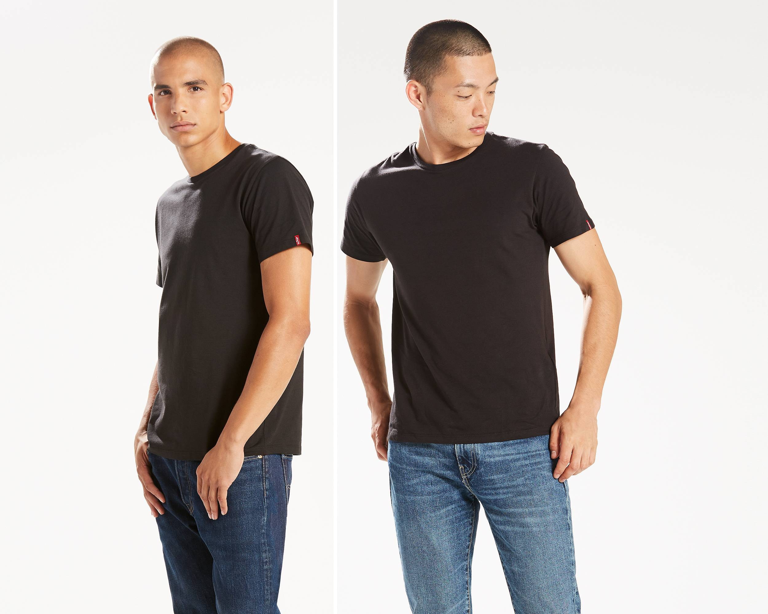 Slim fit crewneck tees 2 pack black and black levi 39 s for Mens black levi shirt