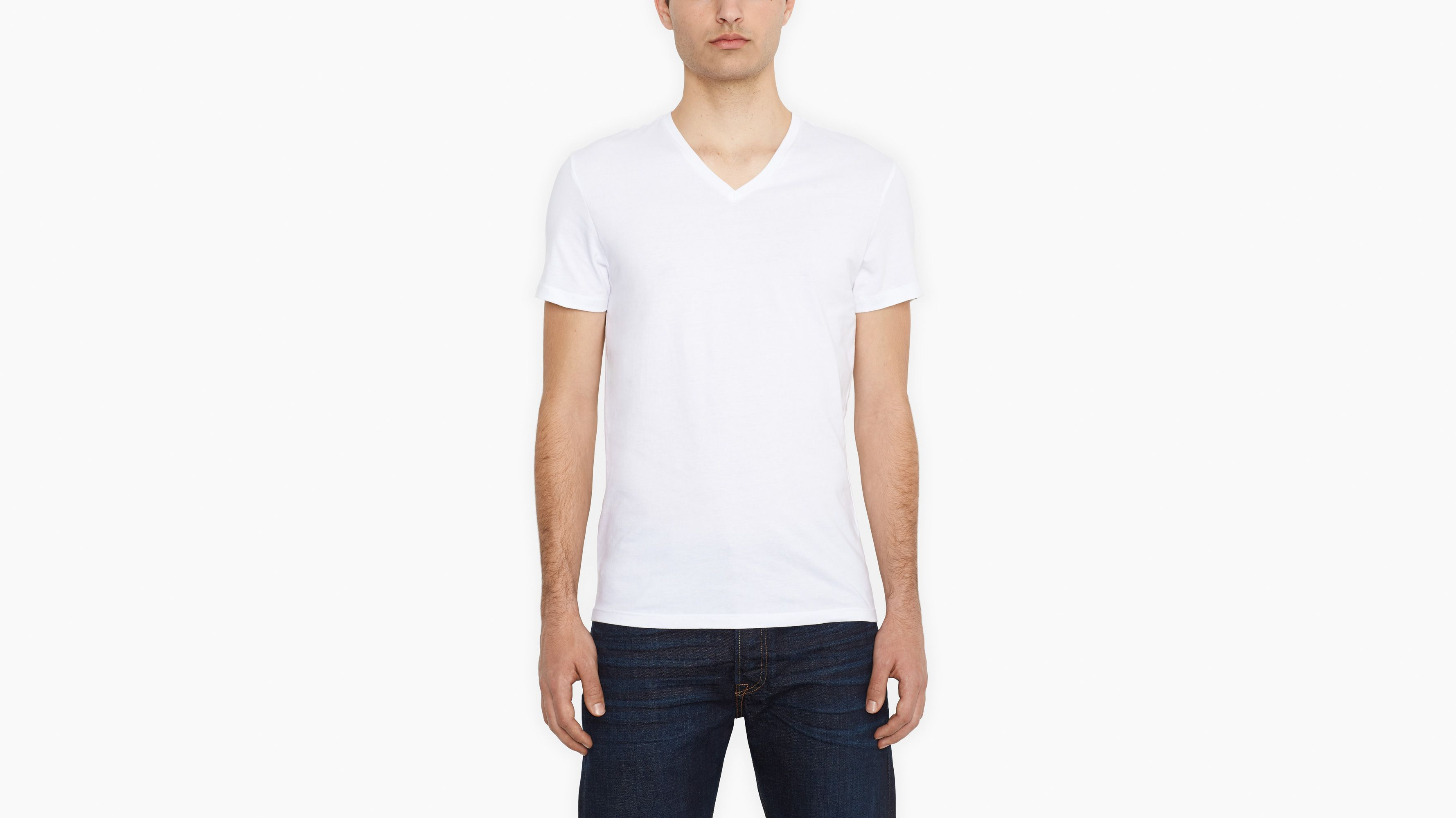 Two-Pack Slim Fit V-Neck Tees - White & White