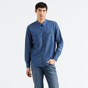 Levis-Modern Barstow Western Shirt-Indigo Twill Rinse