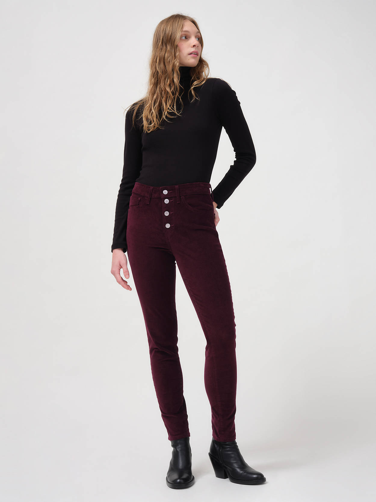 LEVI'S :  Women's 721 Corduroy High Rise Button Front Skinny Pants $17.49