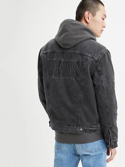 Embossed Logo Sherpa Trucker Jacket