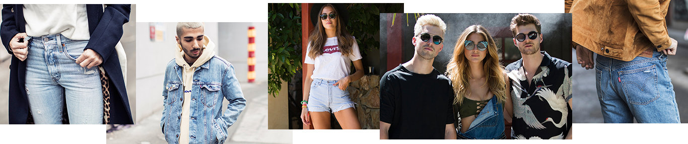 Man wearing levis trucker, Women wearing levis shorts, sunglasses, standing