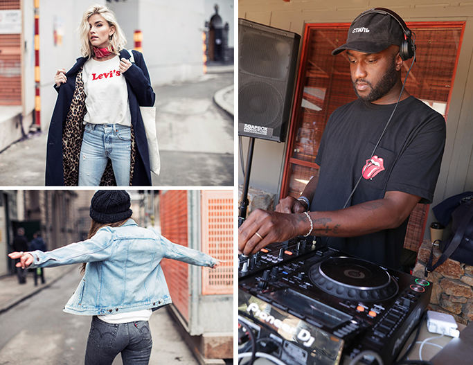 Woman wearing levis logo top and 501 skinny jeans, DJ wearing levis t-shirt working on a track