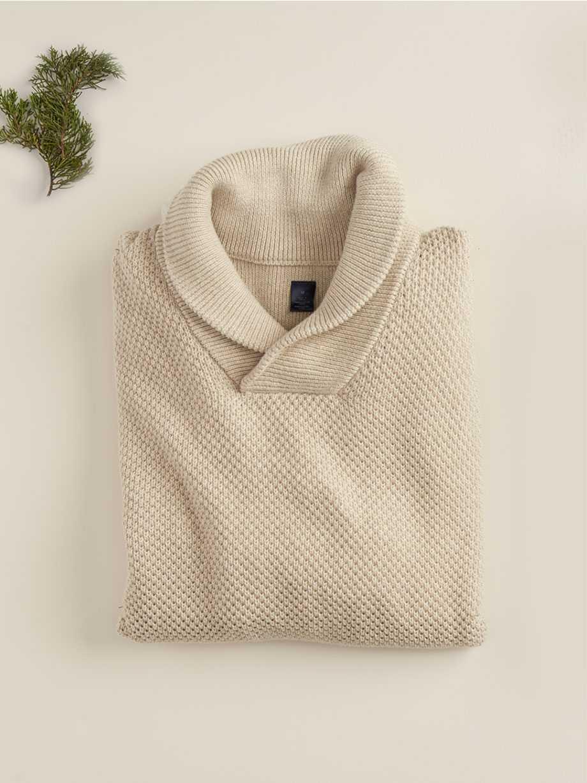 Cotton Shawl Popover Sweater, Oak Heather