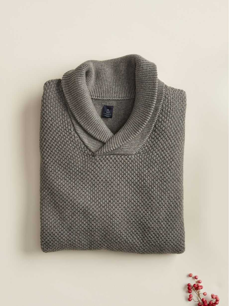 Cotton Shawl Popover Sweater, Gravel Heather