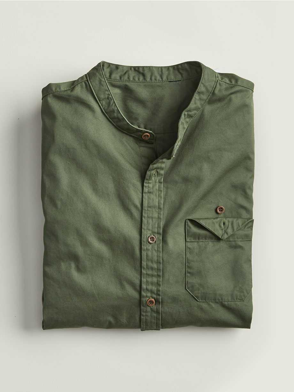 Band Collar Shirt, Thyme