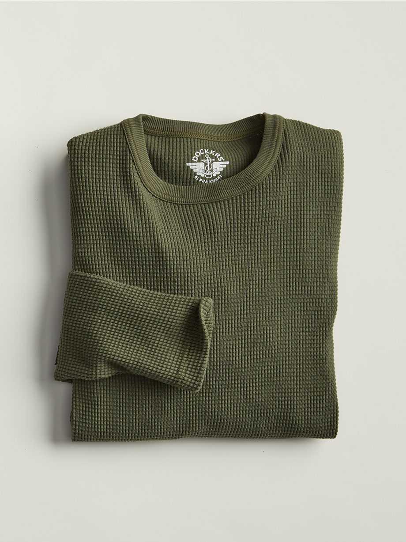Crewneck Waffle Knit Shirt, Deep Depths