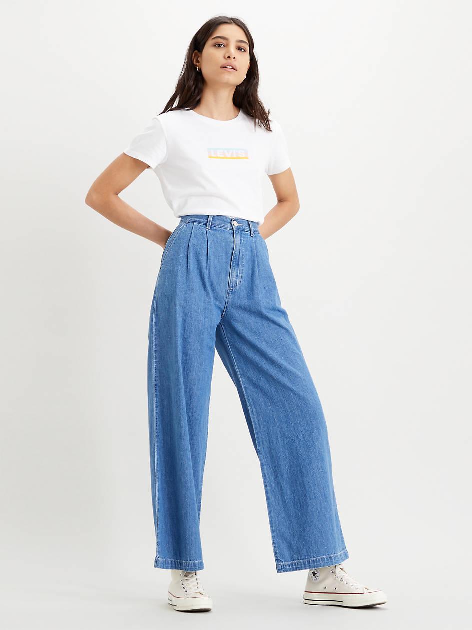 Pleated Wide Leg Trouser - Medium Wash   Levi's® US