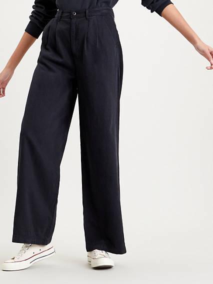 60s – 70s Pants, Jeans, Hippie, Bell Bottoms, Jumpsuits Levis Pleated Wide Leg Pant - Womens 34x28 $98.00 AT vintagedancer.com