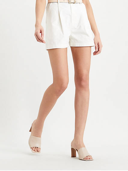 Pleated Utility Womens Shorts