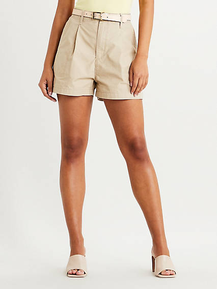 Vintage Shorts, Culottes,  Capris History Levis Pleated Utility Shorts - Womens 24 $69.50 AT vintagedancer.com