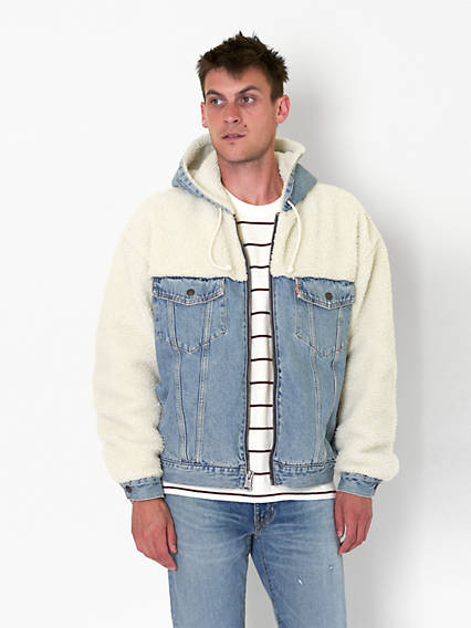 Hooded Hybrid Sherpa Trucker Jacket