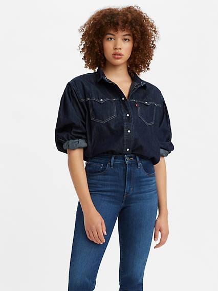 Vintage Western Wear Clothing, Outfit Ideas Levis Payton Western Denim Shirt - Womens XS $89.50 AT vintagedancer.com