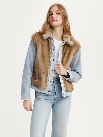 Oversized Fur Trucker Jacket