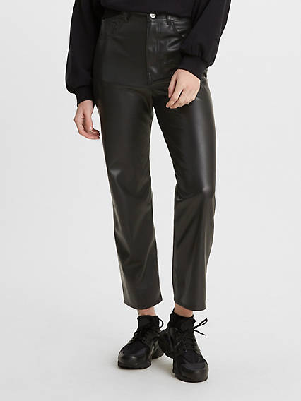 Faux Leather Ribcage Straight Pants