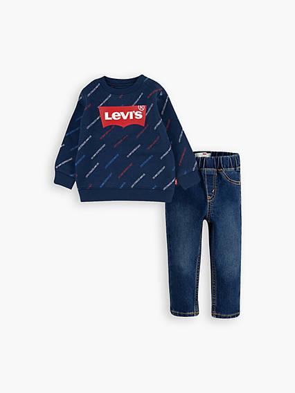 Printed Crewneck Baby Jeans Set 12-24M