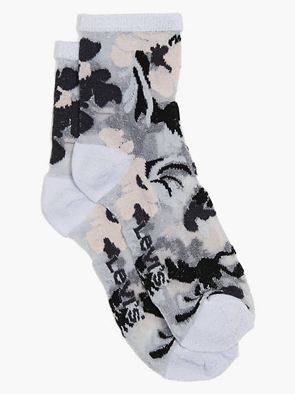 Irridescent Floral Print Short Socks