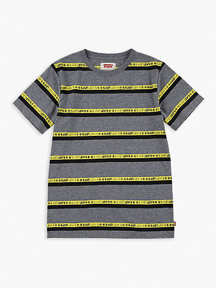 Little Boys (4-7) Striped Neon Graphic Tee Shirt