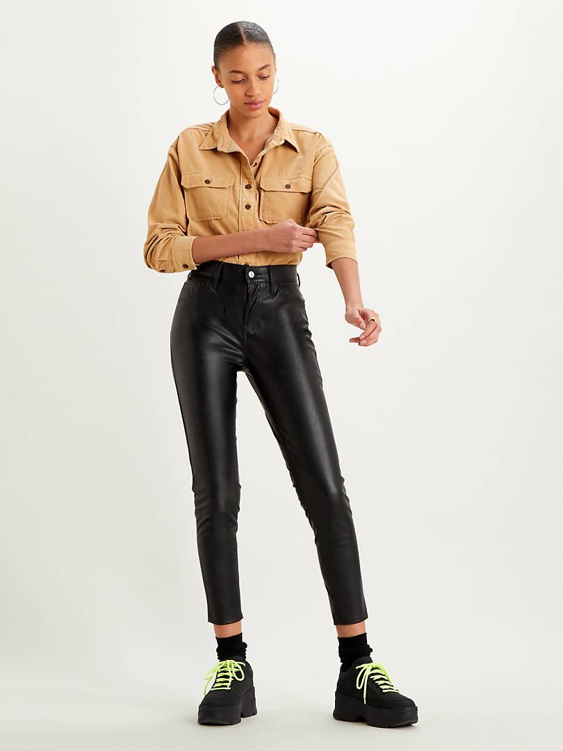 Faux Leather Jeans Black