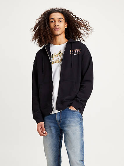 Relaxed Graphic Zip Up Hoodie