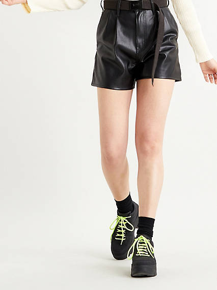 High Rise Faux Leather Womens Shorts