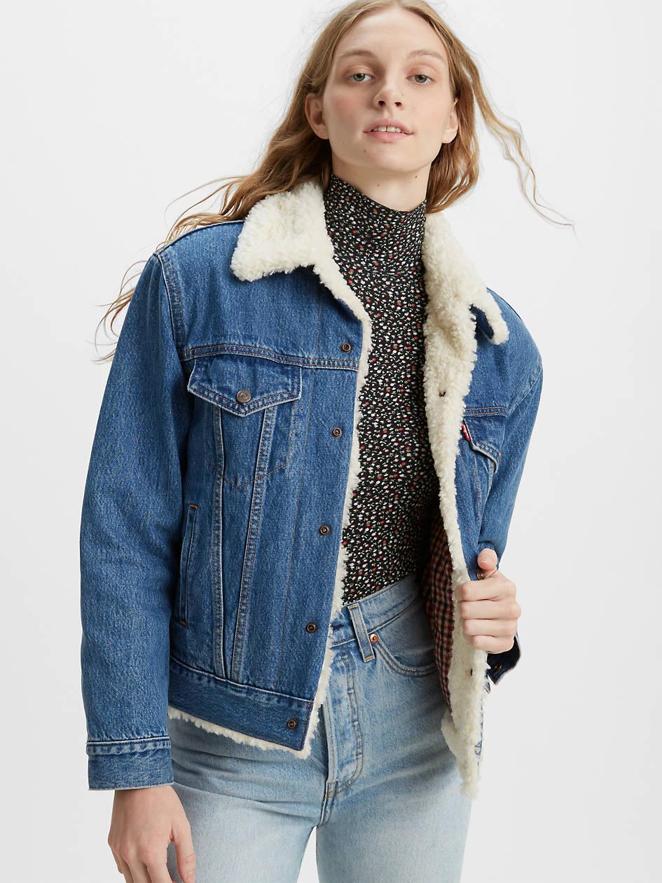Ex-boyfriend Wool Lined Trucker Jacket - Dark Wash   Levi's® US