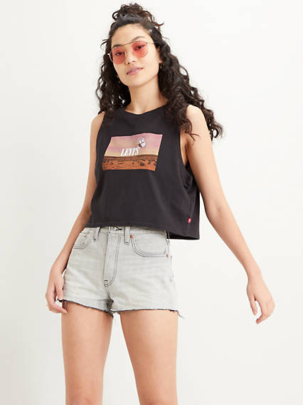 Graphic Crop Tank Top