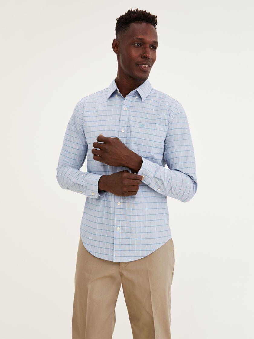 Signature Comfort Flex Shirt, Classic Fit - Blue 526610686   Dockers® US