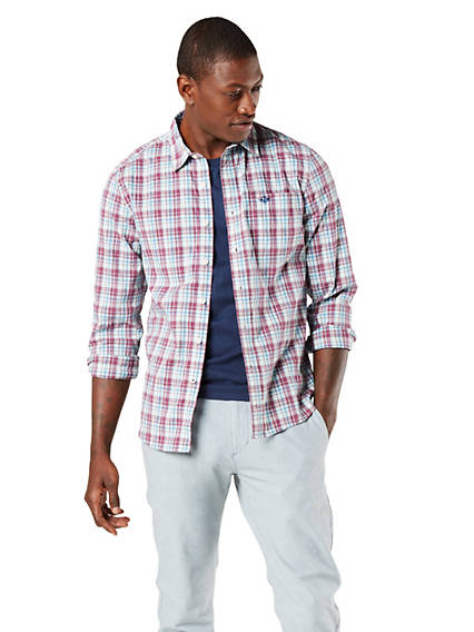 Men's Washed Poplin Button-Up Shirt, Standard Fit