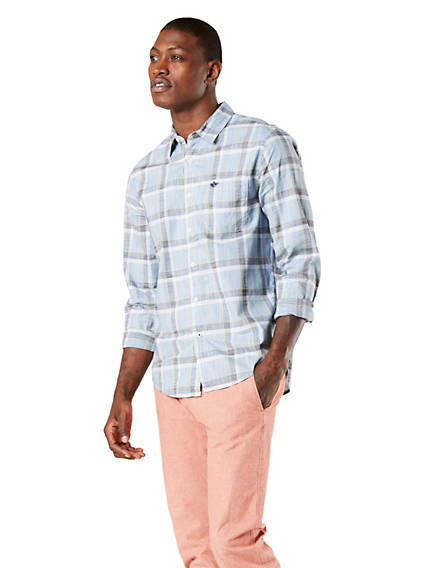 Men's Washed Poplin Button-Up Shirt, Modern Fit