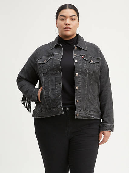Ex-Boyfriend Fringe Trucker Jacket (Plus Size)