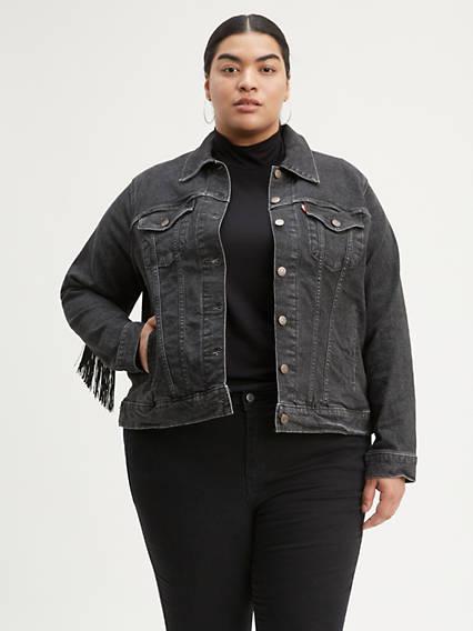 Ex-Boyfriend Fringe Trucker Jacket (Plus Size)