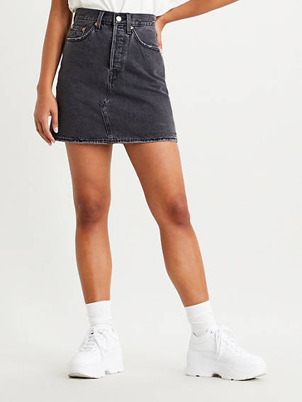 High Waisted Denim Skirt with Button Fly